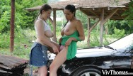 Naked hiker day - Voluptuous lesbian picks up sexy hitch hiker and plays with her