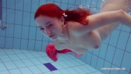 Naked pic redhead Petite teen swims naked in the pool