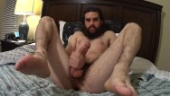 Gay bear cam - Hung straight hippy shows off feet, ass, moans to huge cumshot on cam