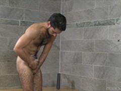 Hairy Uncircumcised Jock Receives Barebacked In Bathroom - Pridestudios