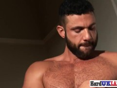Hunky Supah Fur Covered Handsome Homosexual British Wanks Solo