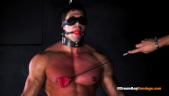 Gay guys huge dicks - Muscular slave boy dominated by kinky master with a huge cock