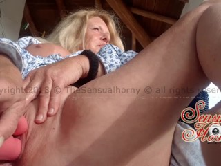 First horny vid from new home; horny on the balcony #wintersun #CUM #mature