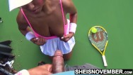 Lesbian gives head to two guys Ebony tennis playing giving up head on the court with big tits outside