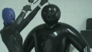 Latex suit sex Heavy rubber latex lesbian teens inflateable suit breath play control mask