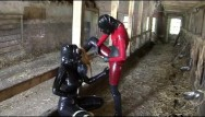 Soft rubber penis Latex rubber slave lesbian girls bizarre pissing games heavy gas mask piss