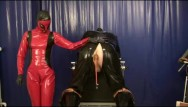 Latex bondage rubber femdom Punishment the rubber slave anal treatment with plugs strap on latex femdom