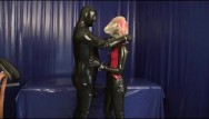 Face of fetish Rubber slave with latex condom face breath play blowjob breath control game