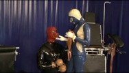 Pissing slaves Heavy rubber latex mistress and her slave bound breathcontrol piss drinking
