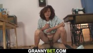 Old women suck young cock Sewing granny sucks and fucks his huge cock