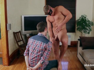 Masked Hunk Plays With Foreskin On His Huge Cock – Maskurbate