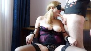 Natural boob milf - Blindfolded milf natural tits bound on chair sloppy deepthroat