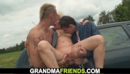 Busty gallery mature old - Shaved busty blonde granny double fucked for money
