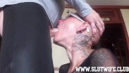 Brutal blowjob thumbs Submissive bald headed slave girl enjoys a brutal sloppy facefuck