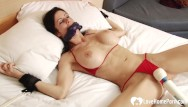 Home bondage video Tied-up babe gets pleasured by a toy