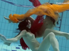 Teens swimming naked in the pool all alone and horny