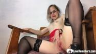 Teacher porn vids Amazing teacher in stockings pleasures her juicy pussy
