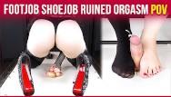 Bondage gear/high heel pumps Cockbox handjob torture high heels footjob with ruined orgasm era