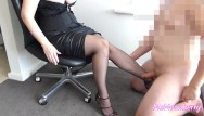 Young sexy lags Femdom leg worship handjob and legjob cumshot on stockings sexy legs