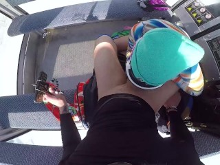 Public Sex with Sexy Girl in the Lift at the Ski Resort POV Amateur Couple