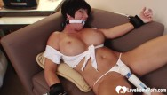 Bondage cuffed gagged Big tits stepmom gagged and pleasured by a toy