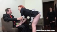 Dust porn Redhead maid dusts old couple