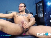 Flirt4Free - Dirian C - Hot Sexy Latino w Big Dick Rides His OhMiBod Toy
