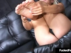 Sexy Sole Shagging Philly Stripper Candy Uses Size 8 Feet To Milk Cock!