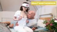 Vaginal pressue Nurse takes old mans blood pressure