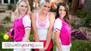 Web teens girls Lily raders softball training turns into hot teens threesome - webyoung