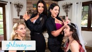 Massage turns into lesbian fuck Angela white turns this bachelorette fuck party into a foursome - girlsway