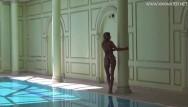 Public pornstar Mary kalisy russian pornstar swims naked in the hot pool