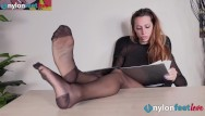 Men wearing pantyhose groups Sexy secretary wears rht glossy pantyhose to tease with her feet