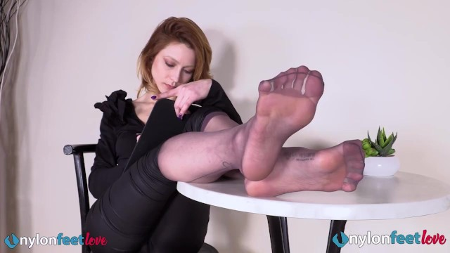 Stunning Busty Redhead Plays With Her Ballet Flats Wearing Nylons