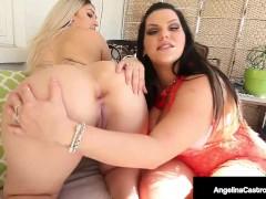 Hot Cuban BBW Angelina Castro Pussy Fucks Sweet Curvy Babe Nina Kayy!