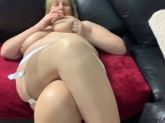 Mature Catherine plays with her big tits and fingers herself to orgasm