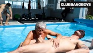 Gay older senior Senior citizen takes a hot load by the pool