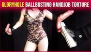 Cock and ball torture mistress Gloryhole ballbusting military cock balls handjob torture era