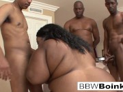 BBW Ebony gets DP'd in hardcore gangbang