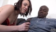 Wife ripe to fuck husband Brunette deepthroat black cock sloppy blowjob and facial cumshot with cuckold husband watching