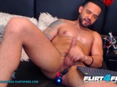 Flirt4free - Logan Cardenas - Cub Latino Web Cam Model Rock-hard Jacks His Large Schlong W Playthings Up His Ass