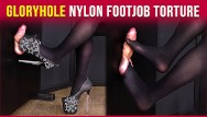 Gloryhole pa Gloryhole nylon footjob cock and balls torture era