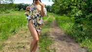 Sexy ass panties Young shameless girl walks without panties and masturbates outside - sexy yum yums