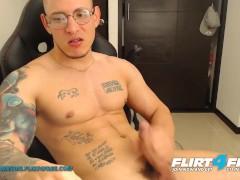 Flirt4free - Hans Odinson - Tattooed Hispanic Teddy W Meaty Monster Penis Masturbates Off A Meaty Geyser On His Abs