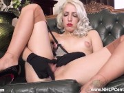 Dirty Babe Liz Rainbow Strips And Wanks Her Wet Pussy In Nylons Gloves Heels