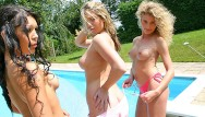 Amatuer lesbian girls Uk students have some girl on girl fun with dildo and toys outside