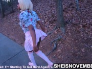 Msnovember Public Slut Walking After Nailing Her StepFather In the Woods, Exposing Thong Outside