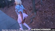 Ebony slut teen Msnovember public slut walking after nailing her stepfather in the woods, exposing thong outside