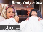 Lesbea Two hot lesbians making love on movie night on the sofa