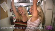Club sex parties xxx Two hot blonde freaks get naked in club kitchen